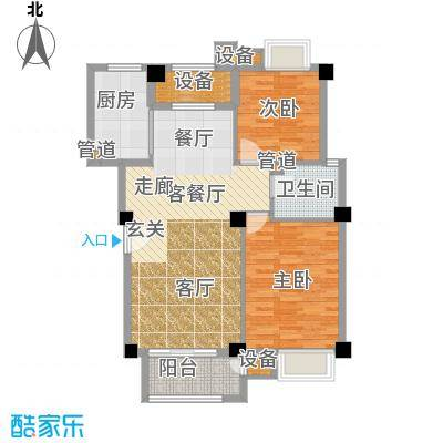 联发滨海琴墅90.00㎡洋房2、3号楼标准层B1户型