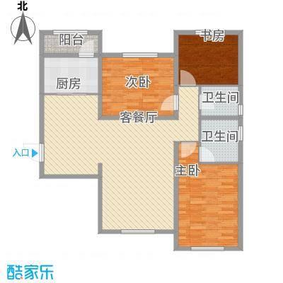 华纳瑞都小区126.47㎡高层4号楼标准层C户型
