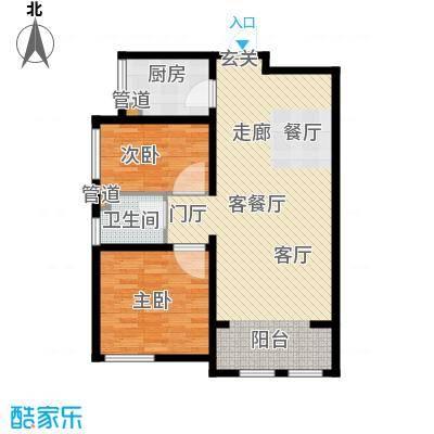 东方文化广场92.00㎡高层标准层A户型