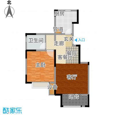 中交上东湾85.00㎡洋房顶层E-01户型