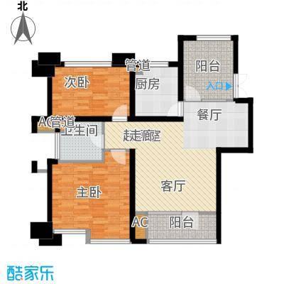 霞飞路63里弄88.73㎡一期1、2号楼奇数层标准层C户型
