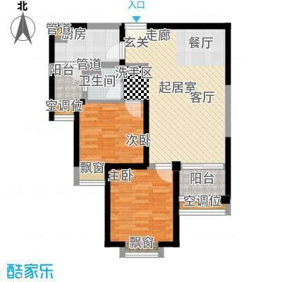 北辰红星国际广场85.40㎡一期高层标准层D户型