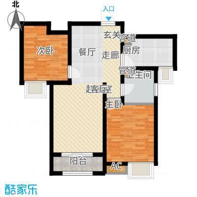奥克斯盛世年华86.31㎡2、3号楼标准层A3户型