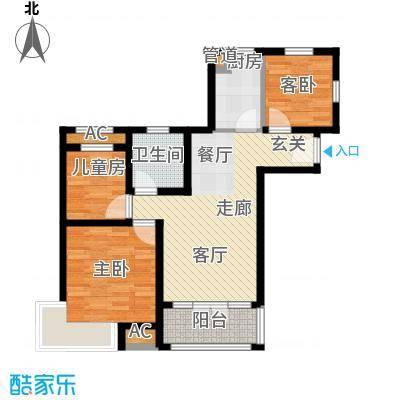 碧桂园滨海城94.00㎡小高层标准层J410A户型