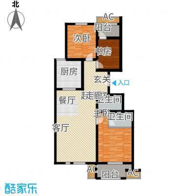 东城摩尔132.00㎡2#标准层三居室面积13200m户型
