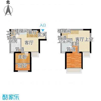 景瑞阳光尚城92.00㎡四期跃层标准层b1-01户型
