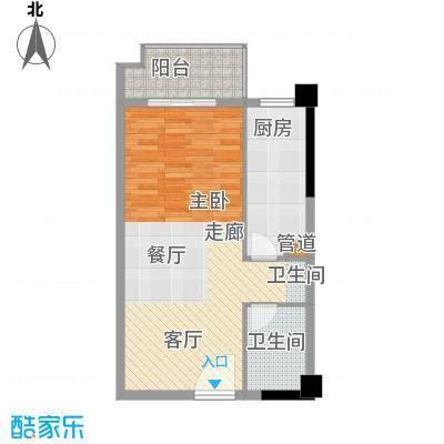 裕亚俊园54.37㎡A71面积5437m户型