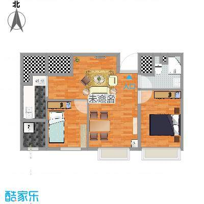 国宝星月湾90方A2户型两室一厅一卫_木木