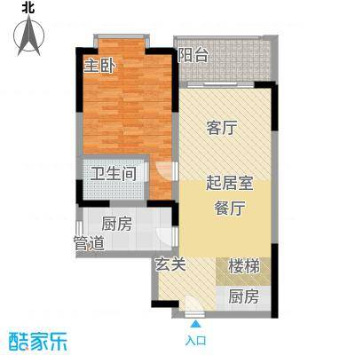 闽东国际城76.00㎡4#楼5-18层K户面积7600m户型