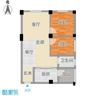丽水康城65.34㎡B1面积6534m户型