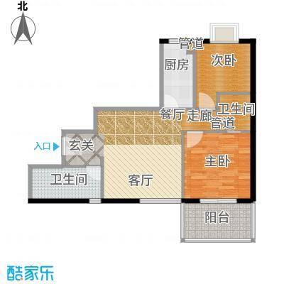 汉口中心嘉园83.77㎡B12面积8377m户型