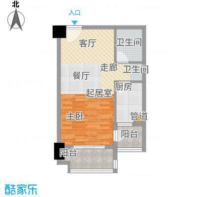 裕亚俊园52.63㎡A3'面积5263m户型