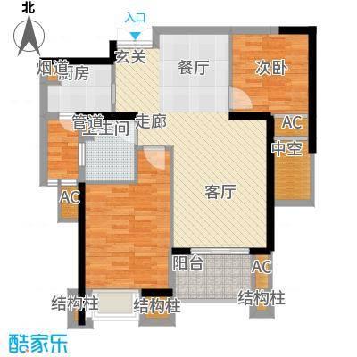 融侨锦江89.00㎡2、3号楼2F-1户面积8900m户型