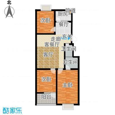 红园小区122.00㎡3居室面积12200m户型
