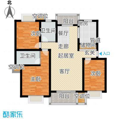 紫晶南园一期房型户型3室2卫1厨