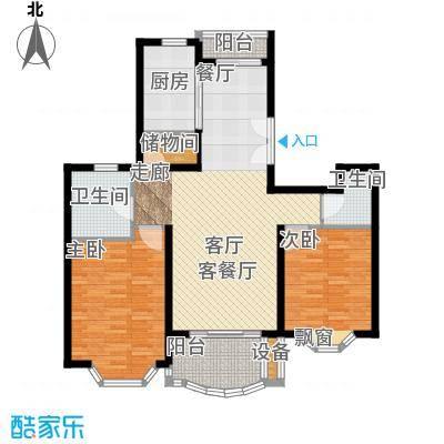 东苑世纪名门花园房型户型2室1厅2卫1厨