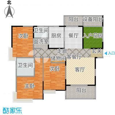 上海三湘海尚C1户型3室1厅2卫1厨