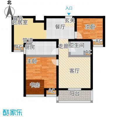 旭辉依云湾二房二厅一卫,面积约88平方米户型