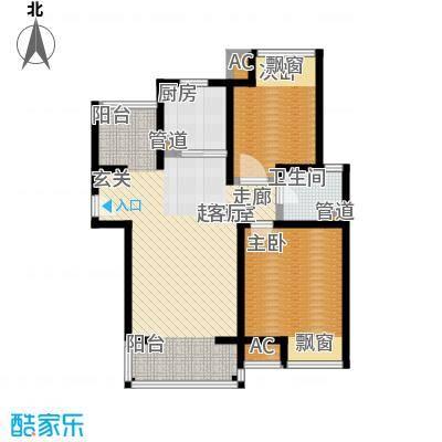 旭辉依云湾二房二厅一卫,面积约89平方米户型