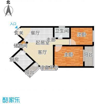 共富富都园110平方米两室两厅一卫户型