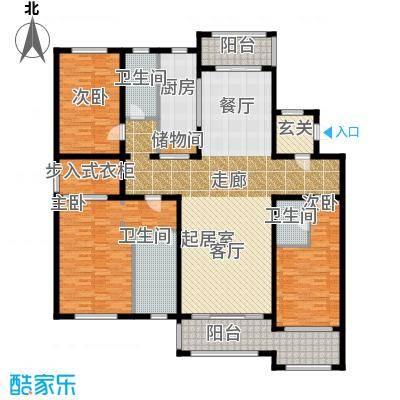 美兰湖中华园铂珏公馆B户型3室3卫1厨