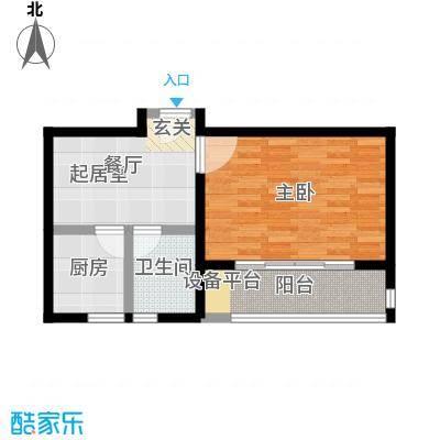 世纪飞凡锦城(世纪长江苑)1房1厅1卫,面积约50平方米户型