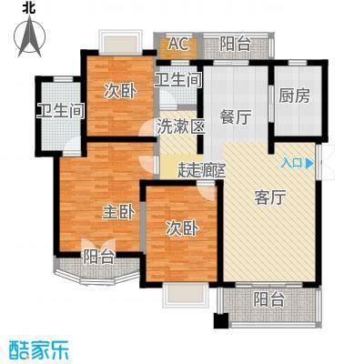 宝宸共和家园一街坊120.00㎡房型: 三房; 面积段: 120 -130 平方米;户型