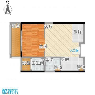 朱美拉公寓64.01㎡D座06单元1室面积6401m户型