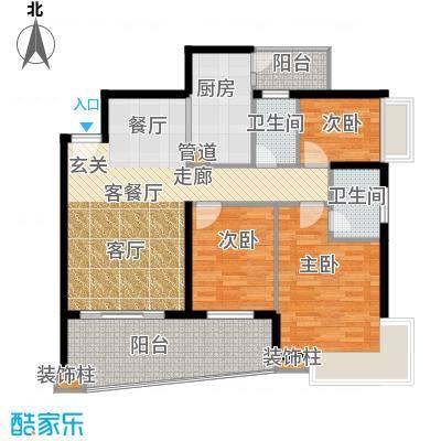 保利林语山庄111.60㎡6G栋23-28层面积11160m户型