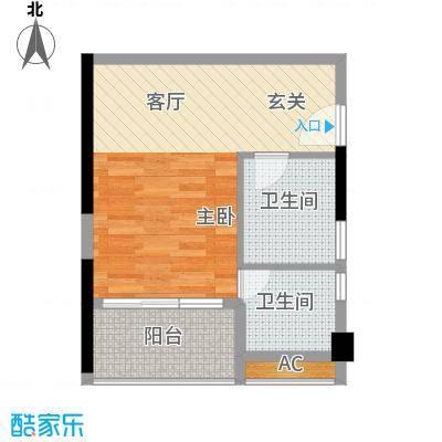 君林天下45.00㎡C1栋03单元1室面积4500m户型
