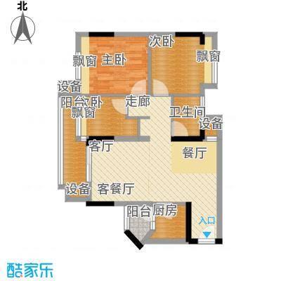 时尚明苑84.46㎡3栋标准层05单位面积8446m户型