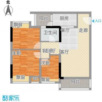 时尚明苑85.67㎡7栋标准层03单位面积8567m户型