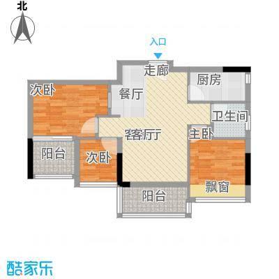 时尚明苑85.94㎡6栋标准层02单位面积8594m户型