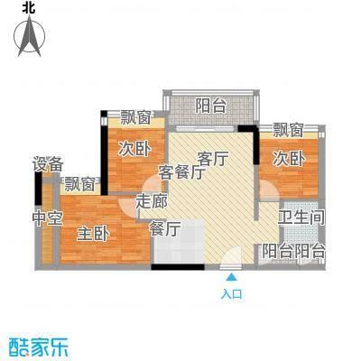 时尚明苑83.99㎡2栋标准层06单位面积8399m户型