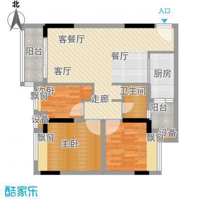 时尚明苑82.22㎡4栋标准层02单位面积8222m户型