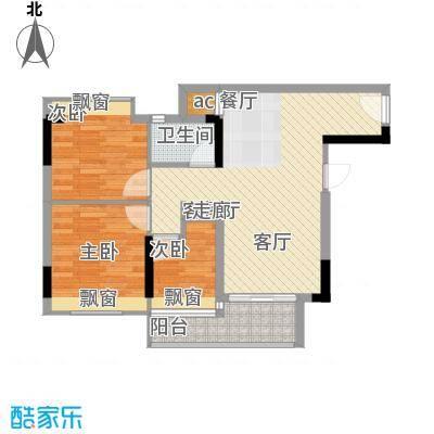 时尚明苑84.59㎡5栋标准层03单位面积8459m户型