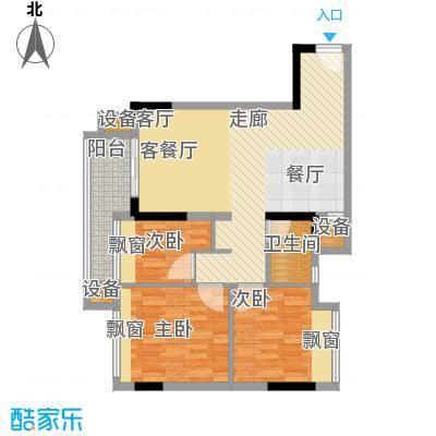 时尚明苑84.46㎡5栋标准层02单位面积8446m户型