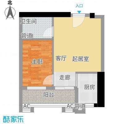 小北御景44.87㎡B座05单元1室1面积4487m户型