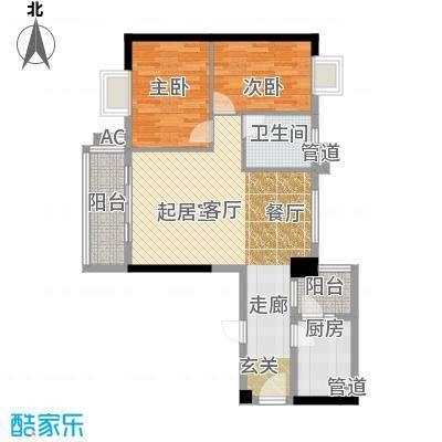 小北御景77.05㎡A座08单元2室2面积7705m户型