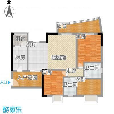 现代城市花园110.15㎡三栋4单元面积11015m户型