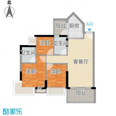 可逸豪苑97.92㎡7栋02单元3室2面积9792m户型