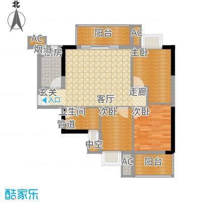 银汇华庭91.16㎡二期04单元3室面积9116m户型