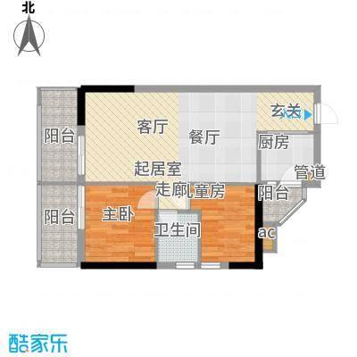 盛大蓝庭75.03㎡D栋03单元2室2面积7503m户型