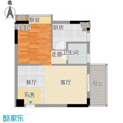 盛大蓝庭54.62㎡E栋04单元1室2面积5462m户型