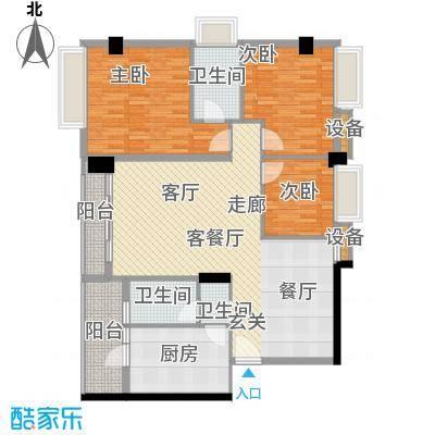 都市兰亭121.34㎡E1座02单元3室面积12134m户型