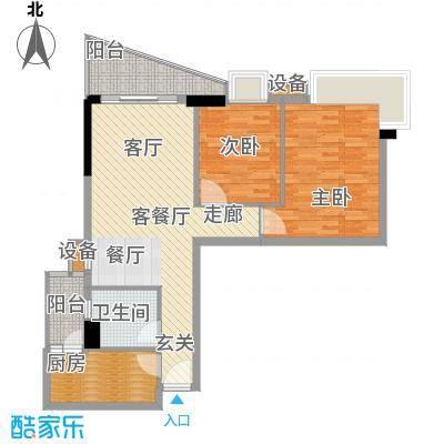 都市兰亭85.80㎡E2座06单元2室面积8580m户型