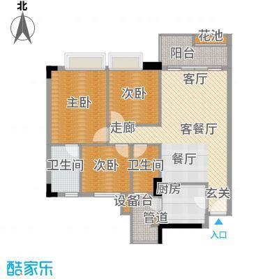 都市兰亭105.43㎡C2座2-11层面积10543m户型