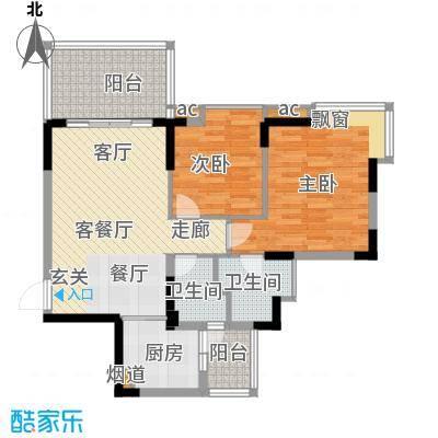 鑫隆世家88.58㎡5座04单位2面积8858m户型
