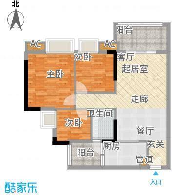 瑜翠园88.76㎡锦苑2座04单元3室面积8876m户型