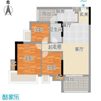 瑜翠园88.76㎡锦苑1座02单元3室面积8876m户型